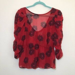 UO • Ecoté Sheer Red Floral top